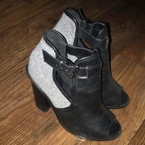 Black booties with white dot design